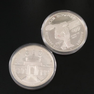 Silver Proof Commemorative Olympic Dollars, 1983, 1984