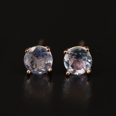 14K Rose Gold Tanzanite Stud Earrings