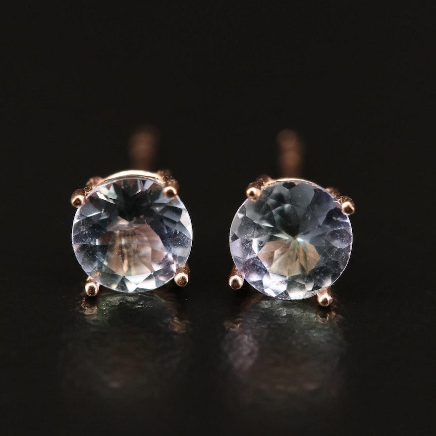 14K Rose Gold Tanzanite Stud Earrings