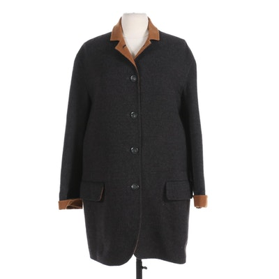 Ron Leal Bicolor Wool Button-Front Coat
