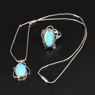 Western Sterling Silver Turquoise Ring and Pendant Necklace