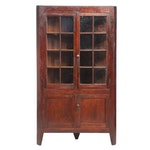 American Primitive Cherrywood Corner Cupboard, 19th Century