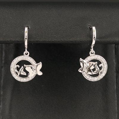 10K Diamond Butterfly Drop Earrings