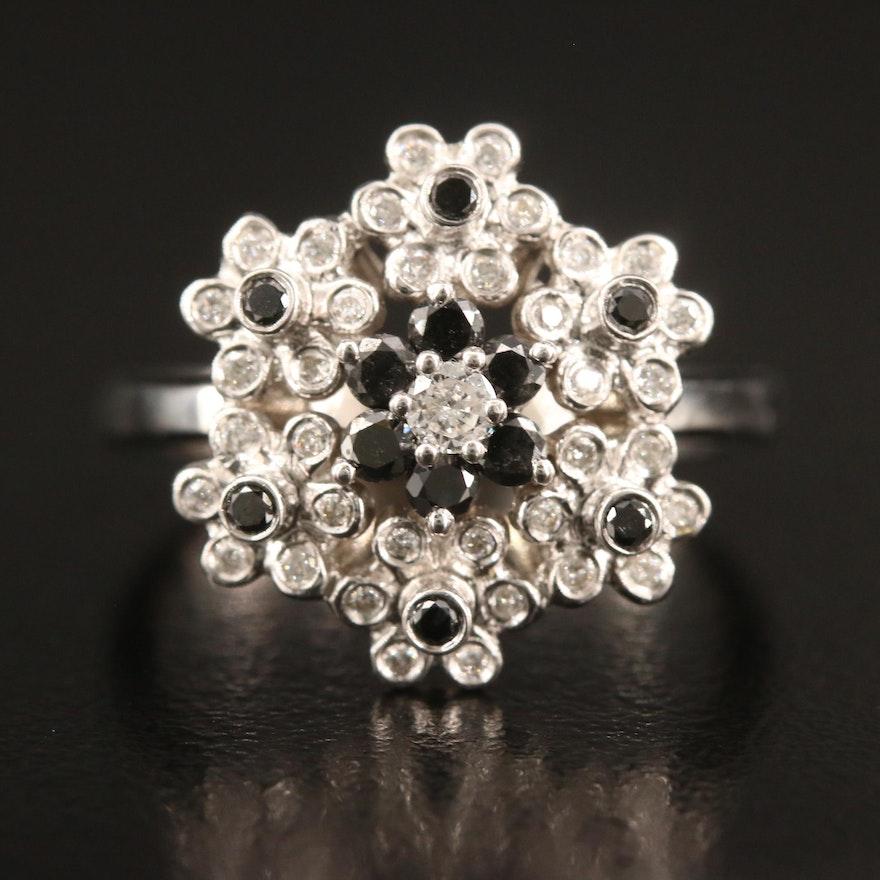 18K Diamond Flower Ring