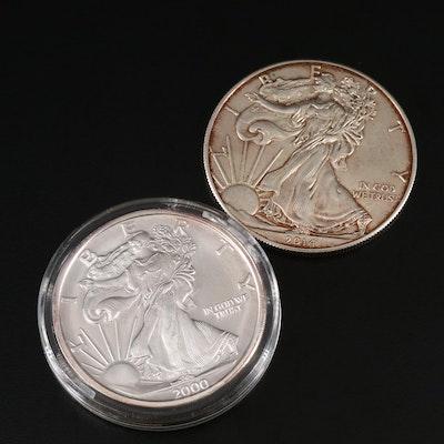 Millennium Commemorative .999 Silver Round and 2014 Silver Eagle Bullion Coin