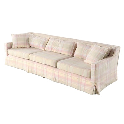 Pastel Plaid Upholstered Sofa, Mid to Late 20th Century