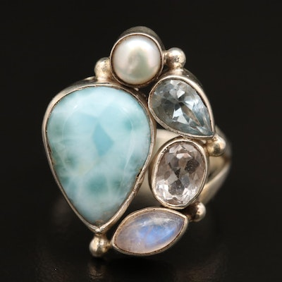 Sterling Larimar, Rainbow Moonstone and Pearl Ring