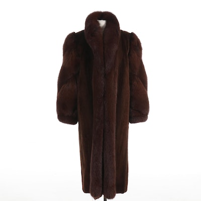 Dark Brown Sheared Beaver and Fox Fur Full-Length Coat with Banded Cuffs
