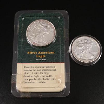Millennium Commemorative .999 Silver Round and 1999 $1 Silver Eagle Bullion Coin