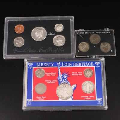 Coin Sets Including U.S. Mint Silver Proof, Wartime Nickels and Liberty Series