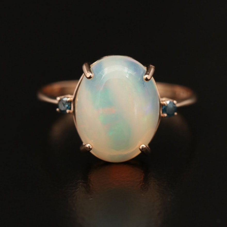 14K Opal Ring with Diamond Accents