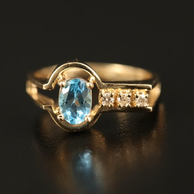 14K Topaz and Diamond Asymmetrical Ring
