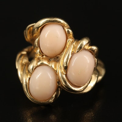 14K Coral Twisted Ring