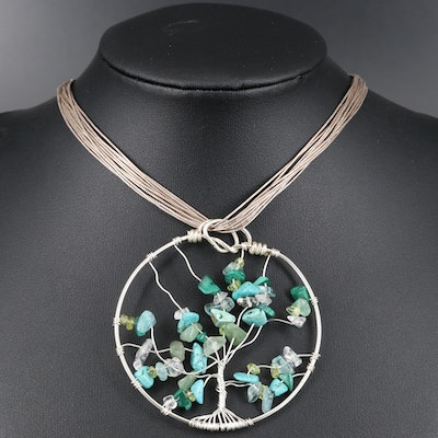 Sterling Gemstone Tree of Life Necklace with Liquid Silver Chain