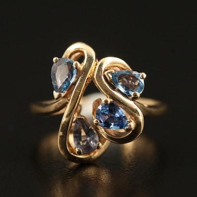 14K Sapphire and Tanzanite Ring
