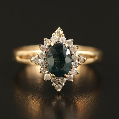 14K 1.00 CT Sapphire and Diamond Halo Ring