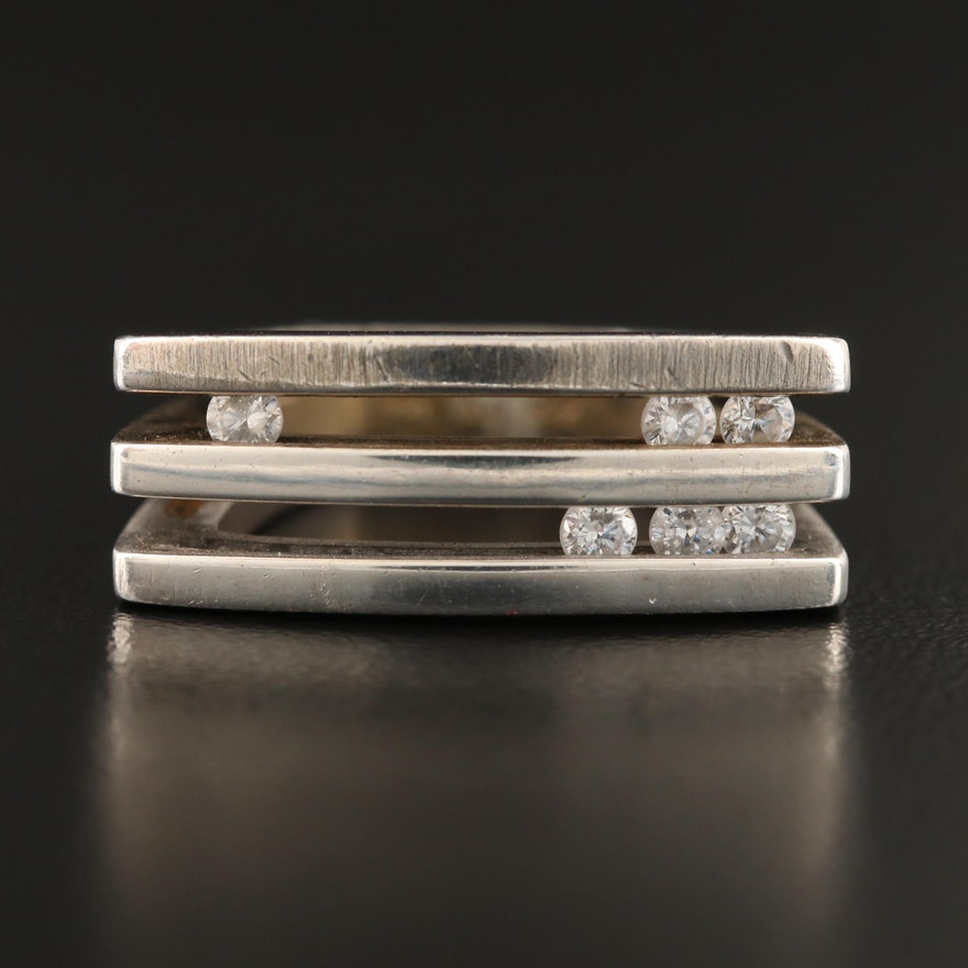 "Sterling Silver Cubic Zirconia Three Row ""Diamond Slider"" Ring"