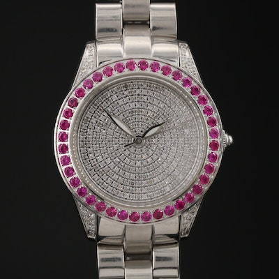 "Invicta ""Wildflower"" Stainless Steel Diamonds and Rubies Wristwatch"