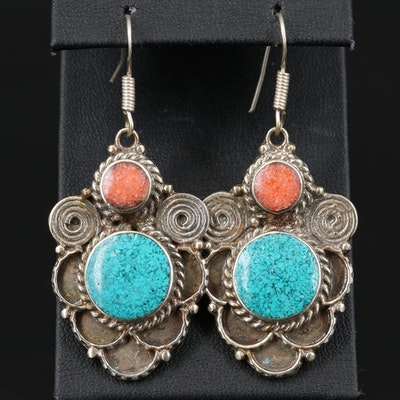 Tibetan Style Turquoise and Coral Dangle Earrings