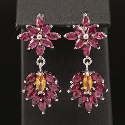 Sterling Citrine and Rhodolite Garnet Dangle Earrings
