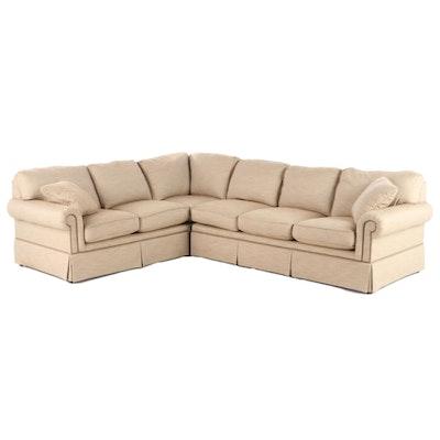 Sherrill Contemporary Sectional Sofa in Herringbone Twill