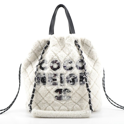Chanel Coco Neige Shopping Tote in Shearling and Tweed