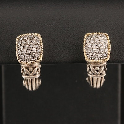 EFFY Sterling and Diamond J-Hoop Earrings with 18K Accents