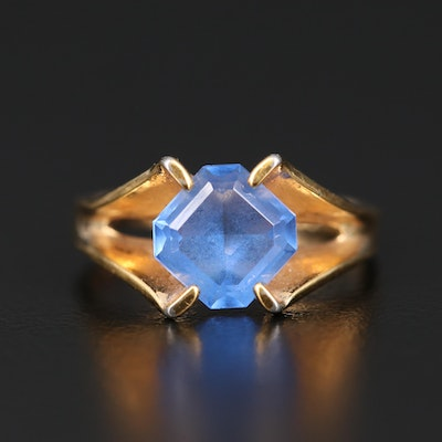 Vintage Blue Glass Ring with Split Shoulders