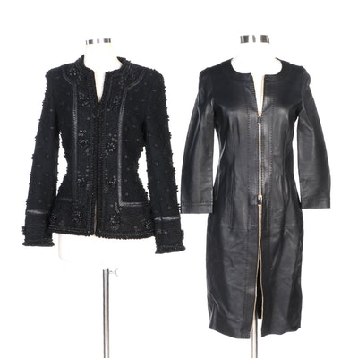 Escada Cord and Grommet Embellished Jacket with Black Mid-Length Leather Jacket