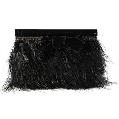 Tom Ford Bow Frame Feathered Clutch in Black