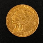 1909 Indian Head $2.50 Gold Quarter Eagle