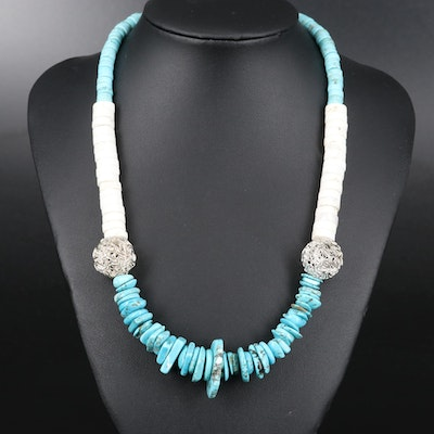 Beaded Turquoise and Magnesite Necklace