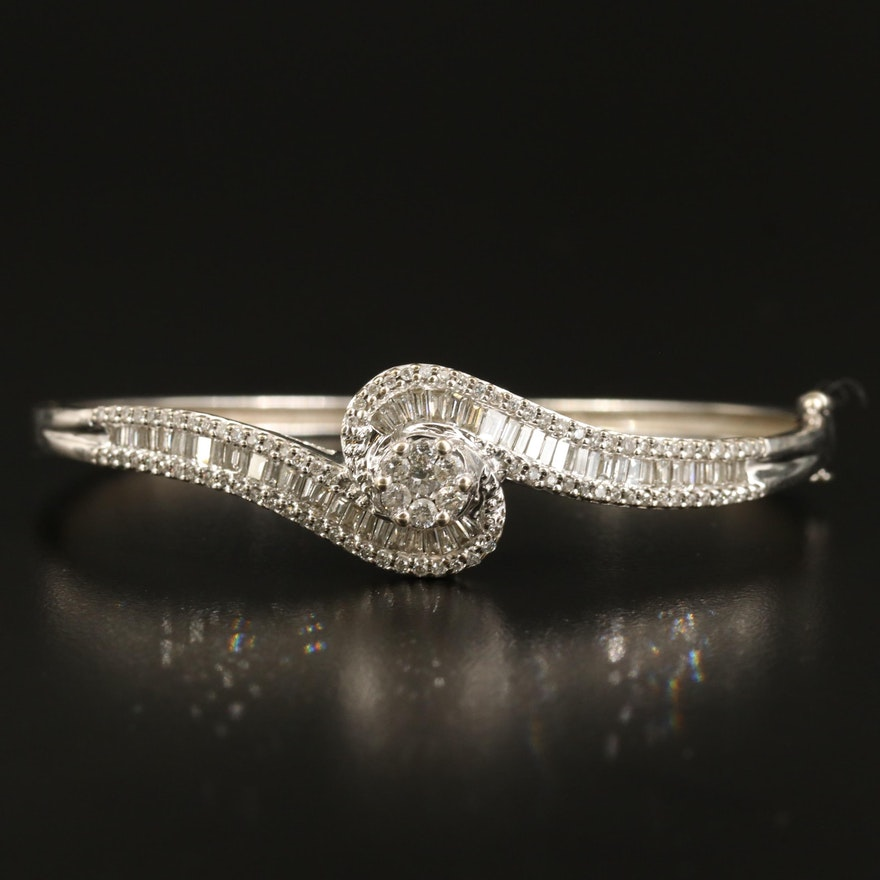 14K 2.45 CTW Diamond Hinged Bangle