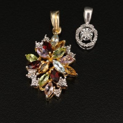 Sterling Pendants Including Diamond, Garnet and Peridot