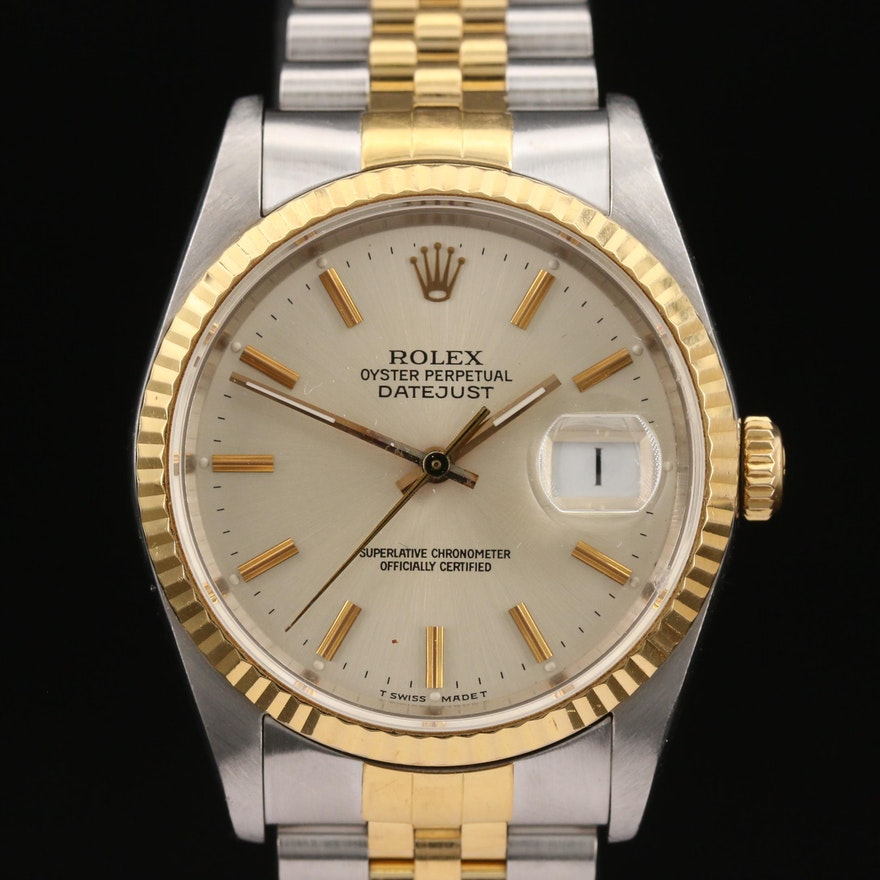 1988 Rolex Datejust 18K Gold and Stainless Steel Automatic Wristwatch