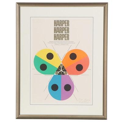 "Charley Harper Lithograph Exhibition Poster ""Harper Harper Harper,"" 1977"