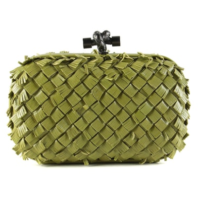 Bottega Veneta Woven Fringed Box Knot Clutch in Intrecciato Nappa Leather