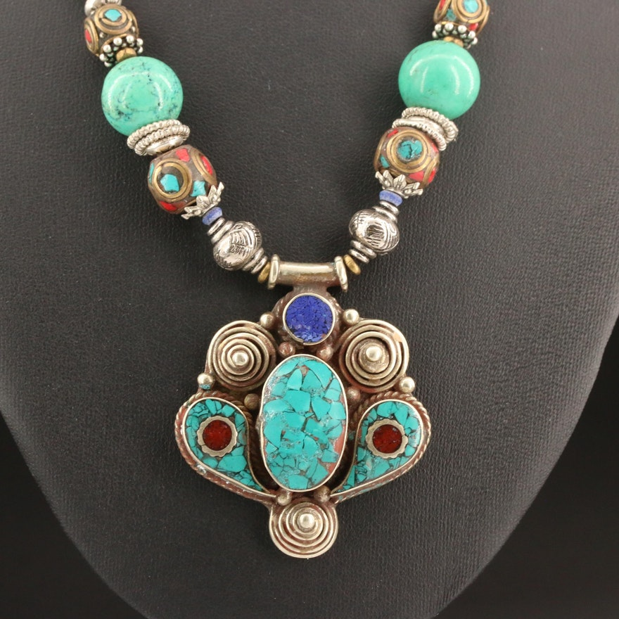Tibetan Style Turquoise and Coral Necklace