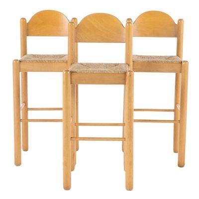 Three Beech Barstools with Rush Slip-Seats