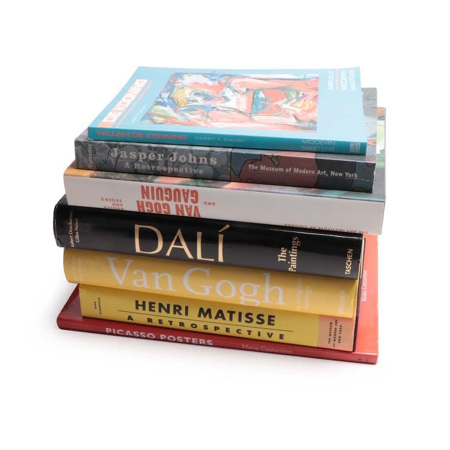 Art Reference Books Including Dali, Van Gogh, de Kooning, Matisse, and More
