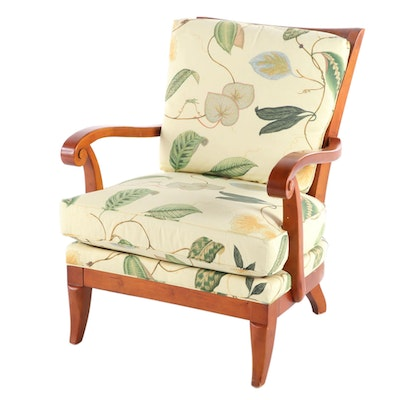 Hickory Chair French Style Upholstered Birch Lounge Chair, Late 20th Century