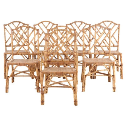 Rattan Patio Dining Chairs, Mid to Late 20th Century
