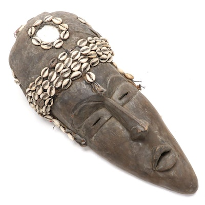 West African Style Wood Mask with Cowrie Shell Embellishments