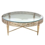 Neoclassical Style Gilt Metal and Glass Top Coffee Table