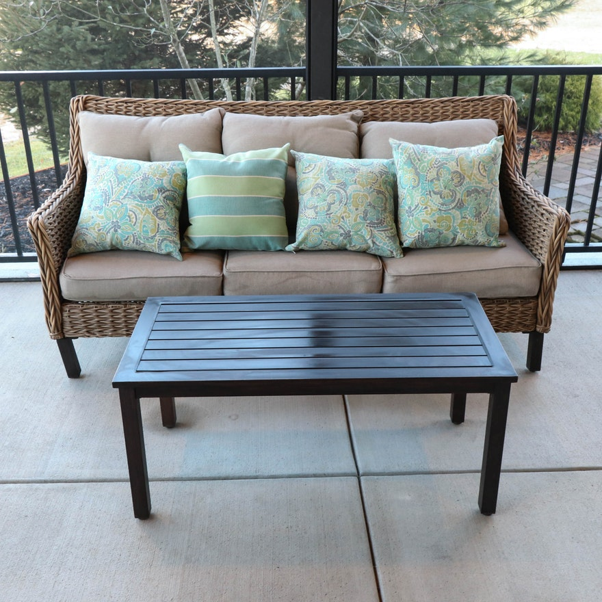 Resin Wicker Patio Sofa with Outdoor Cushions and Coffee Table