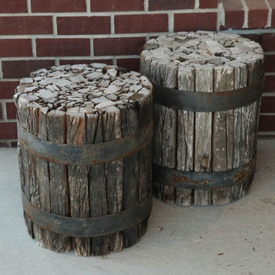 Bound Timber Wood Barrel Side Tables or Seats