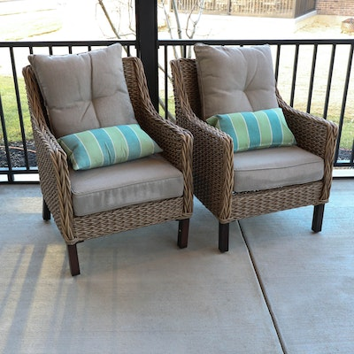Woven Resin Patio Chairs with Nanotex Weather Resistant Cushions