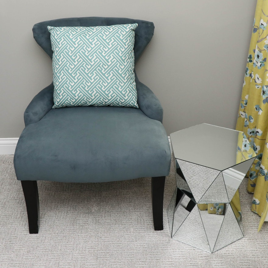 Teal Tufted Microfiber Slipper Chair with Pillow and Mirrored Side Table