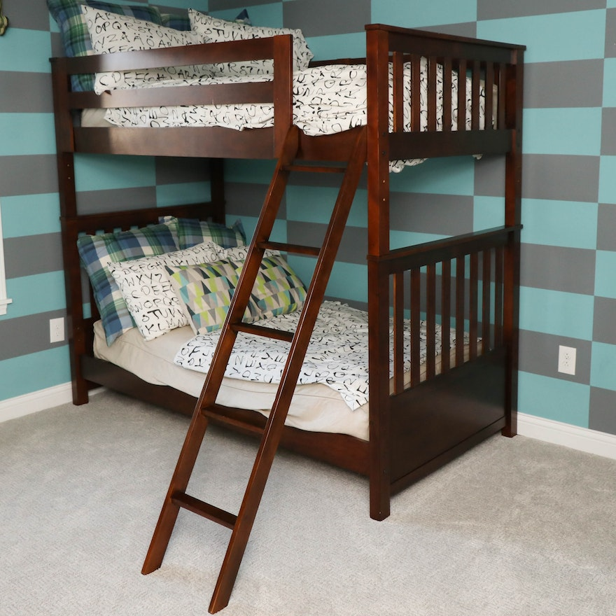 Transitional Style Bunk Bed in Cherry Stain with Twin Marquis Mattresses