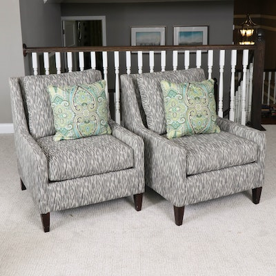 Pair of Rowe Furniture Contemporary Upholstered Lounge Chairs with Pillows